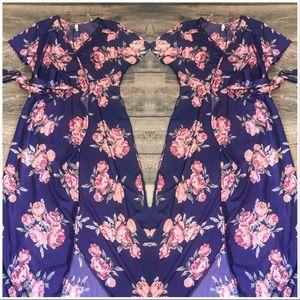 Plus Size Kimono Blue Floral Maxi wrap dress XL